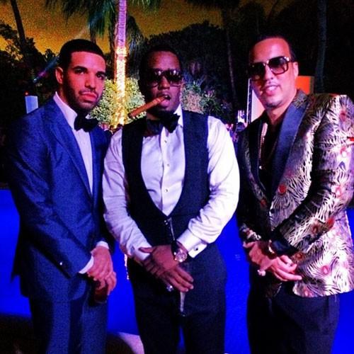 P. Diddy entouré de Drake et French Montana lors du réveillon du nouvel an à Miami, le 31 décembre 2013.