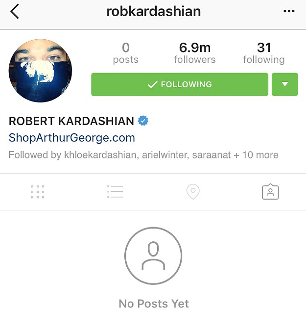 Rob Kardashian supprime toutes les photos de son compte Instagram