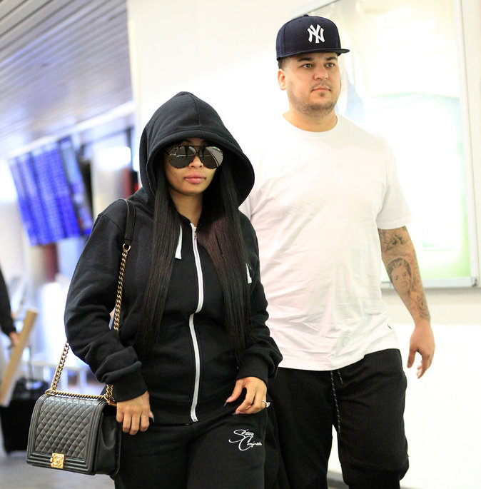 Rob Kardashian et Blac Chyna à l'aeroport de New York