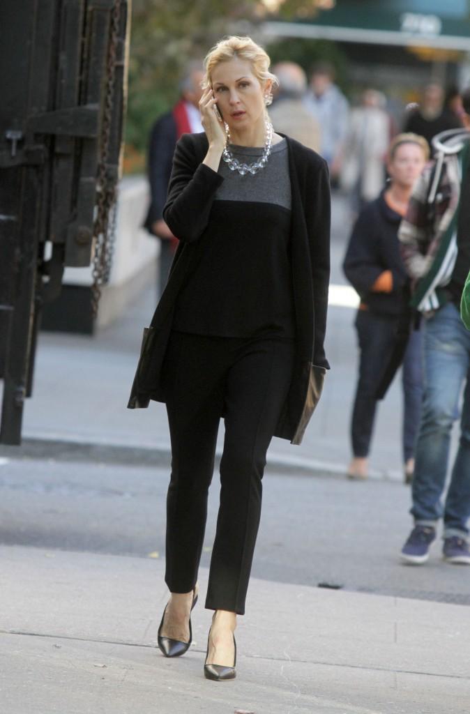 Kelly Rutherford sur le plateau de tournage de la série Gossip Girl à New York, le 25 octobre 2011.