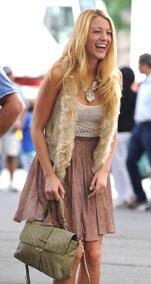 Blake Lively sur le tournage de Gossip Girl, le 1er septembre 2011.