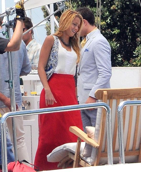 Blake Lively et Ed Westwick sur le tournage de Gossip Girl à Los Angeles, le 3 août 2011.
