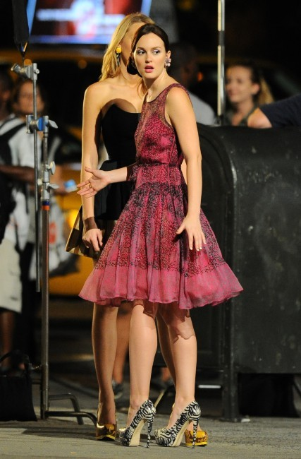 Leighton Meester sur le tournage de Gossip Girl à New York, le 2 août 2012.