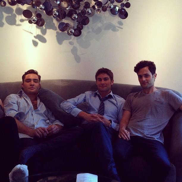 Ed Westwick, Chace Crawford et Penn Bagdley sur le tournage de la saison 6 de Gossip Girl ...