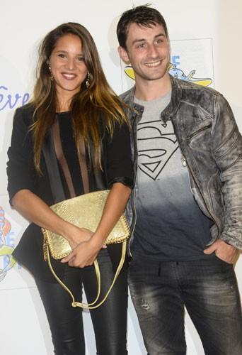 Brian Joubert et sa compagne à Paris, le 3 novembre 2014