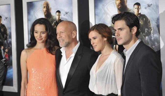 Bruce Willis avec sa femme Emma et sa fille Rumer à l'avant-première de G.I. Joe : Retaliation à Los Angeles le 28 mars 2013