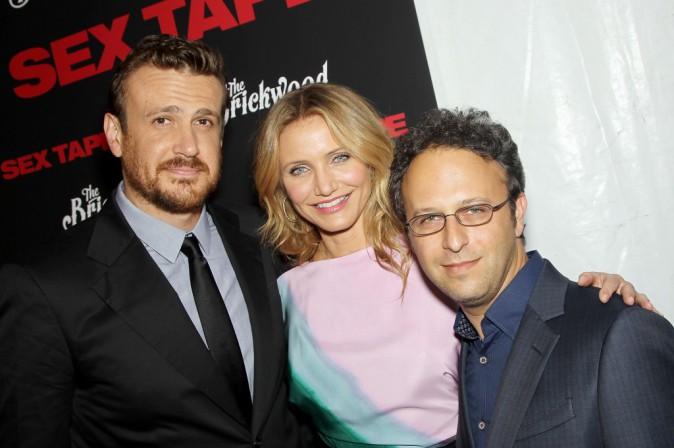"""Jason Segel, Cameron Diaz et Jake Kasdan lors de la première du film """"Sex Tape"""" à New York, le 14 juillet 2014."""