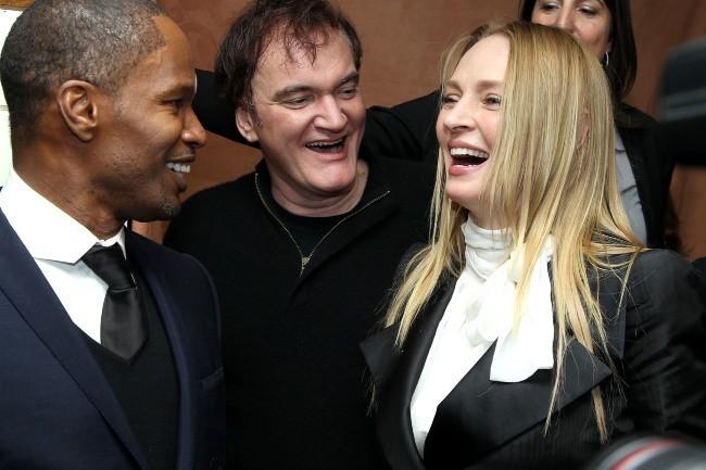 Jamie Foxx, Quentin Tarantino et Uma Thurman lors de l'after-party du film Django Unchained à New York, le 11 décembre 2012.