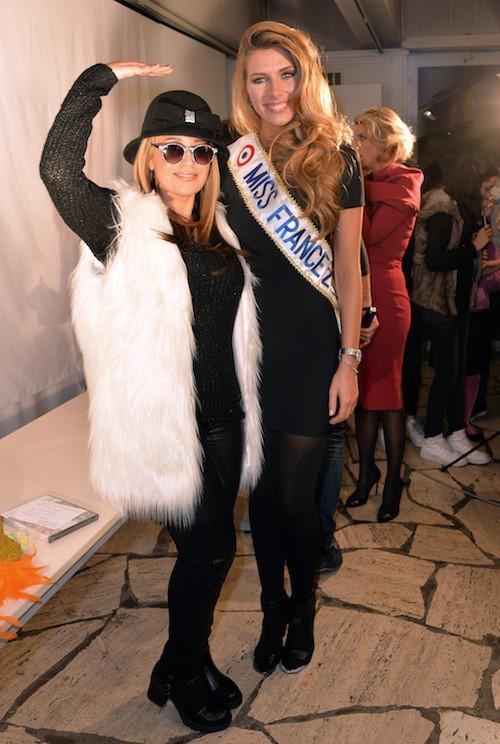 Camille Cerf (Miss France 2015) et Lââm aux 70 ans du Secours Populaire le 8 décembre 2014 !