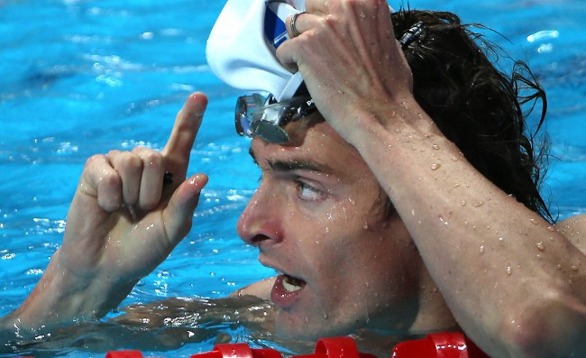 Camille Lacourt aux championnats du monde de Kazan le 9 août 2015