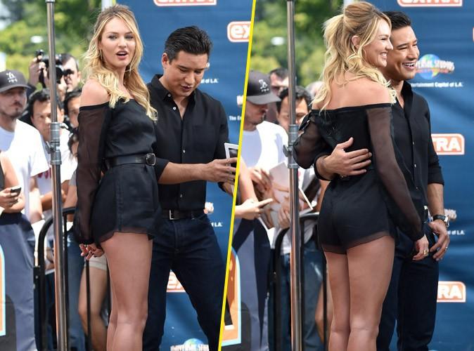 Photos : Candice Swanepoel : quand la femme la plus sexy de l'année dégaine la mini combi-short, Mario Lopez ne dit pas non !