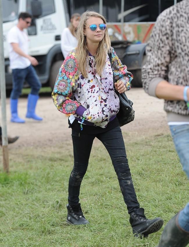 Cara Delevingne au festival de Glastonbury le 28 juin 2013