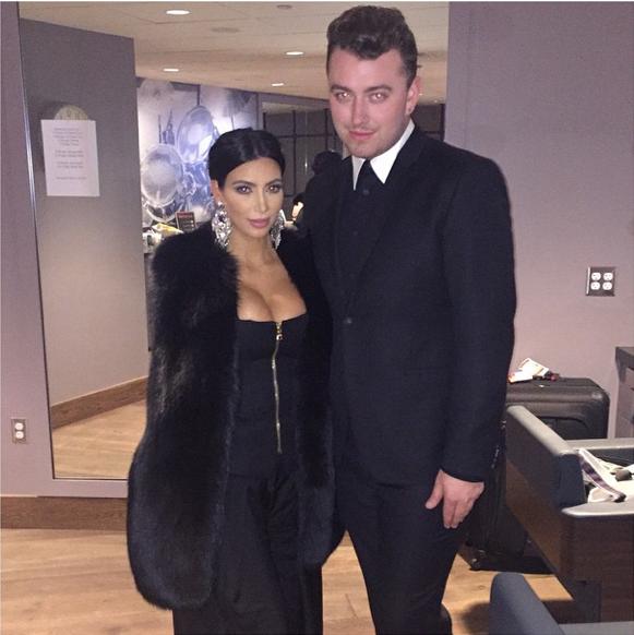 Kim Kardashian et Sam Smith le 29 janvier 2015