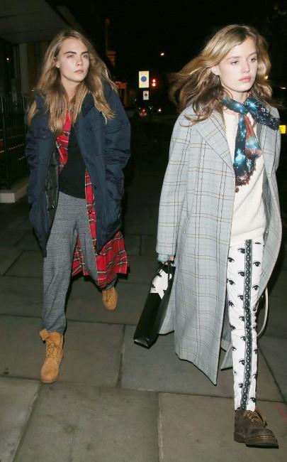 Cara Delevingne et Georgia May Jagger à Londres, le 27 novembre 2013.