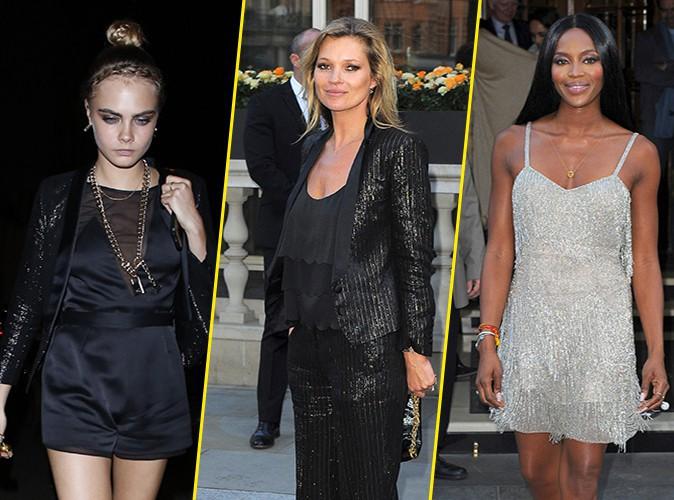 Photos : Cara Delevingne et Naomi Campbell : au top pour apporter leur soutien à Kate Moss !