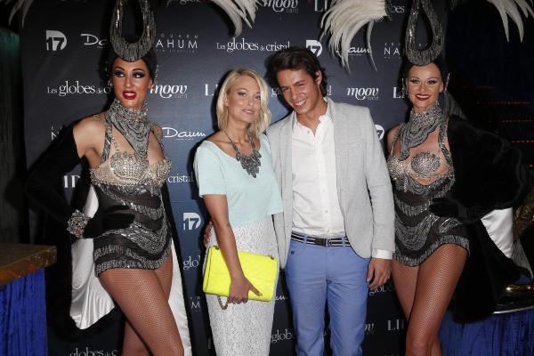 Caroline Receveur et son compagnon Valentin lors de la soirée des Globes de Cristal à Paris, le 10 mars 2014.