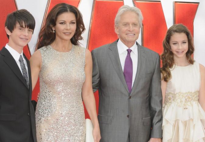 Catherine Zeta Jones, Michael, Dylan et Carys Douglas le 8 juillet 2015