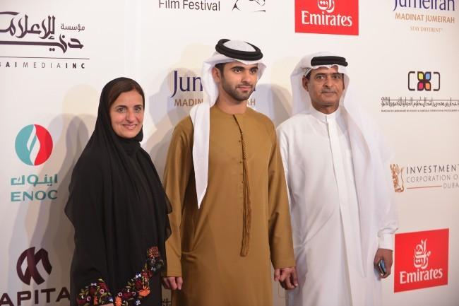 Sheikha Lubna Al Qassemi, Sheikh Mansoor bin Mohammed bin Rashid Al Maktoum et Abdulhamid Juma, lors du Festival international du film de Dubaï, le...