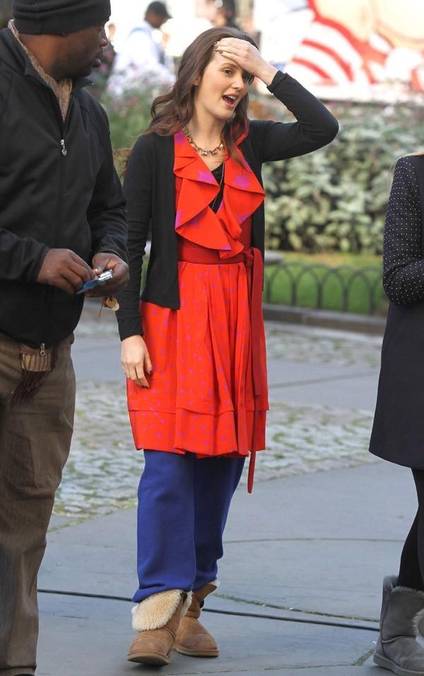 Leighton Meester sur le tournage de Gossip Girl à New-York le 1 er octobre 2012