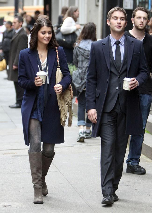 Chace Crawford sur le tournage de Gossip Girl à New-York le 4 octobre 2012