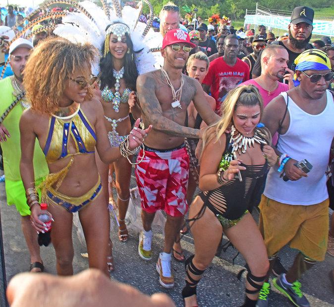 Lewis Hamilton et Chanel Iman à La Barbade le 2 août 2016