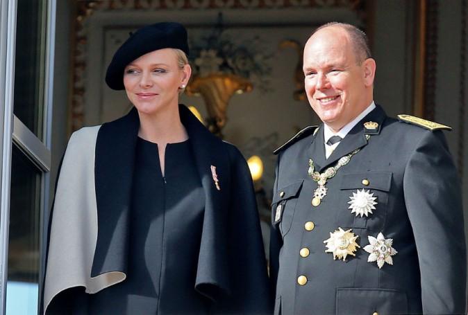 Charlène et Albert de Monaco lors de la célébration de la fête nationale monégasque le 19 novembre 2014