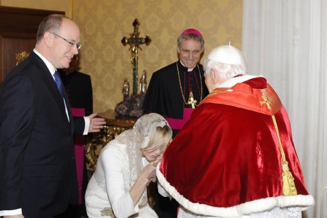 Albert et Charlene de Monaco au Vatican pour rencontrer Benoît XVI le 12 janvier 2013