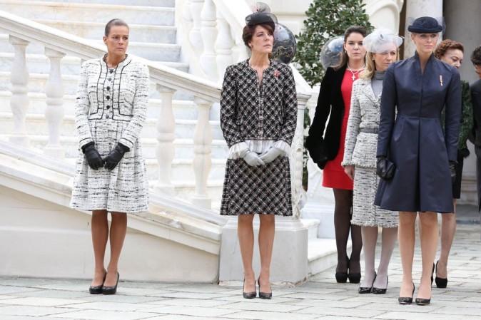 Stéphanie, Charlène et Caroline de Monco célèbrent la fête nationale monégasque le 18 novembre 2012