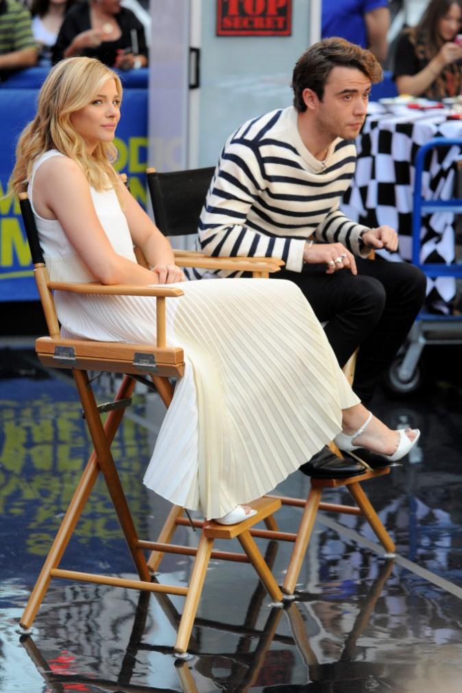 Chloe Grace Moretz sur le tournage de l'émission Good morning America, à New York, le 18 août 2014.