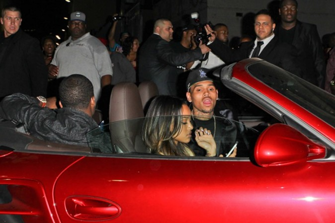Chris Brown et Karrueche Tran après les BET Awards à Los Angeles le 30 juin 2013