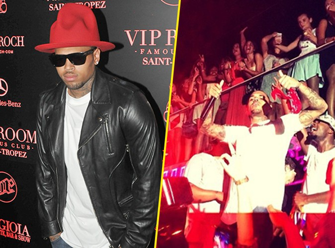 photos chris brown showcase explosif et arros au vip room de saint tropez. Black Bedroom Furniture Sets. Home Design Ideas