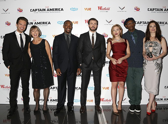 Sebastian Stan, Jenny Agutter, Anthony Mackie, Chris Evans, Scarlett Johansson, Samuel L. Jackson et Hayley Hatwell à Londres le 20 mars 2014