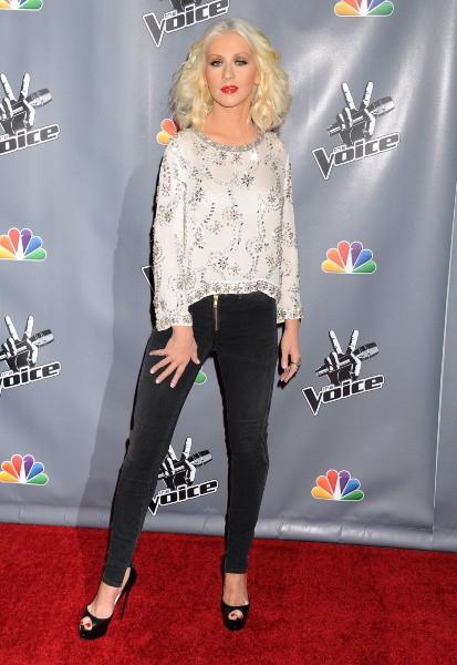 Christina Aguilera en promo pour The Voice à Universal City, le 7 novembre 2013.