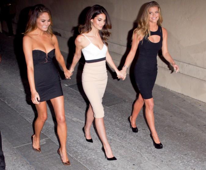 Chrissy Teigen, Lily Aldridge et Nina Agdal en promo à Hollywood, le 17 février 2014.