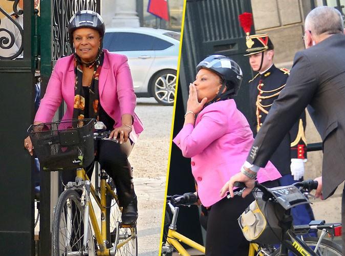 Photos : Christiane Taubira : elle fait le showw pour sa sortie de l'Elysée à vélo !