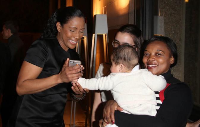 Christine Kelly avec sa fille Léa à Paris le 28 janvier 2015