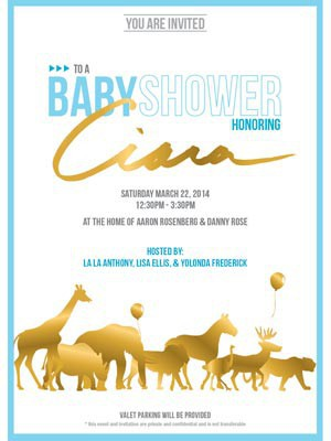 Carton d'invitation de la baby shower de Ciara.