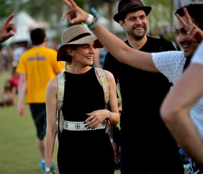 Diane Kruger et Joshua Jackson venus écouter Calvin Harris - Coachella Jour 3