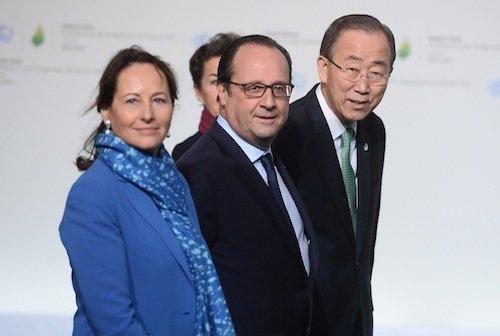 François Hollande et Ségolène Royal avec Ban ki-Moon, le sécrétaire général des Nations Unies