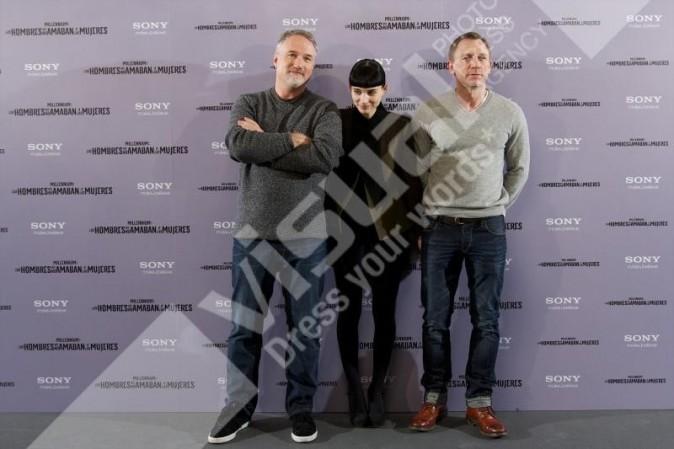 David Fincher, Rooney Mara et Daniel Craig en promo à Madrid, le 4 janvier 2011.