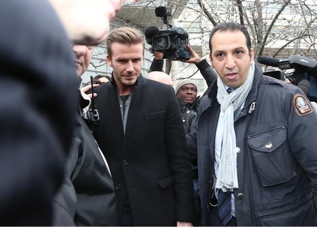 David Beckham à la Pitié-Salpêtrière, à Paris, le 31 janvier 2013