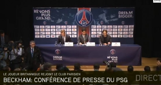 La conférence de presse de David Beckham au Parc des Princes le 31 janvier 2013