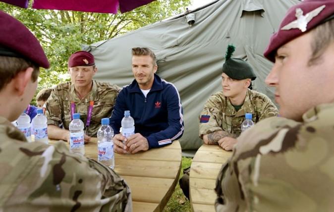 David Beckham avec l'armée anglaise à Londres le 9 août 2012