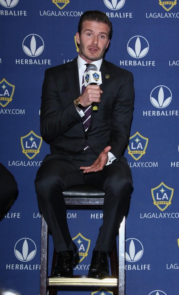 David Beckham lors de la conférence de presse des L.A. Galaxy à Los Angeles, le 19 janvier 2012.