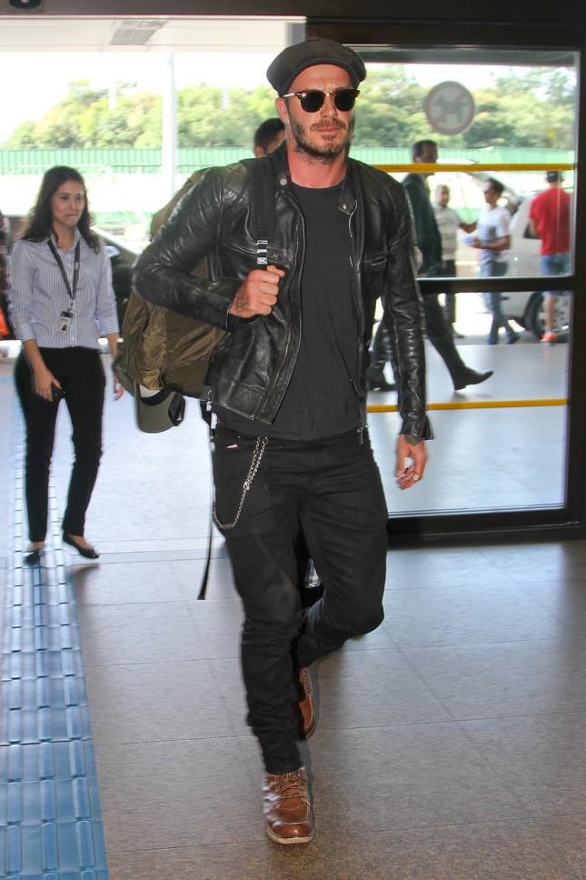 David Beckham à l'aéroport de Rio de Janeiro le 17 mars 2014