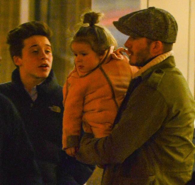 David Beckham en famille à New-York le 8 février 2014