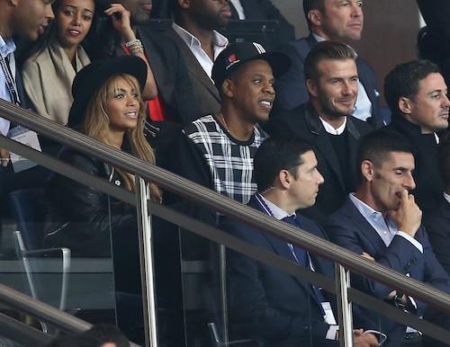 Beyoncé, Jay-Z et David Beckham assistent au match PSG-Barcelone à Paris, le 30 septembre 2014
