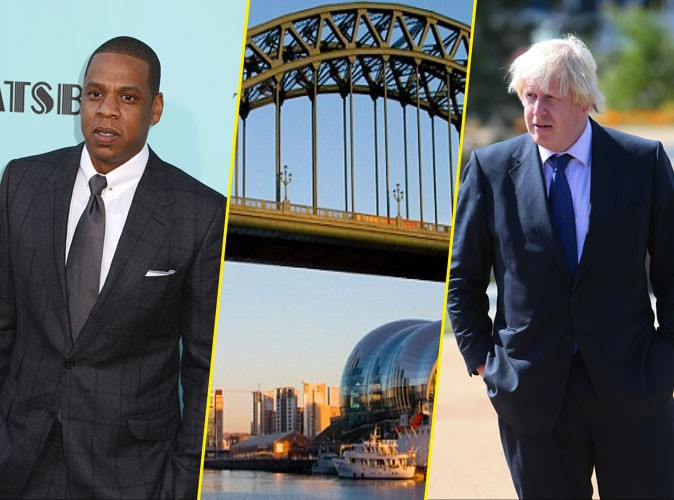 Jay-Z et le maire de Londres Boris Johnson comparés au Tyne Bridge