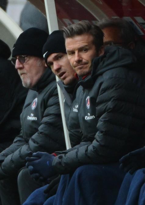 David Beckham au stade de Reims pour sa première défaite avec le PSG le 2 mars 2013