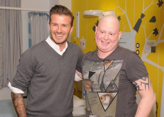 David Beckham en visite surprise à l'hôpital Queen Elizabeth de Birmingham le 16 janvier 2013